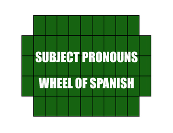 Spanish Subject Pronoun Wheel of Spanish