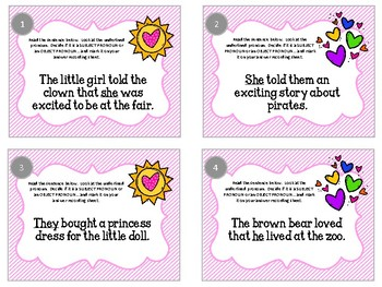 Subject Pronoun or Object Pronoun Task Cards. OP or SP?