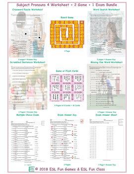 Subject Pronouns 4 Worksheet-2 Game-1 Exam Bundle