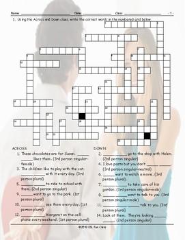 Subject Pronouns Crossword Puzzle
