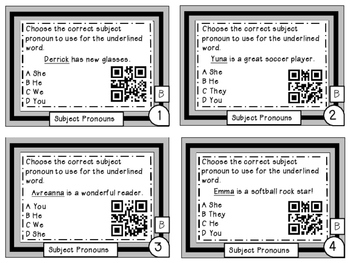 Subject Pronouns Differentiated Task Cards with QR Codes Grade 6