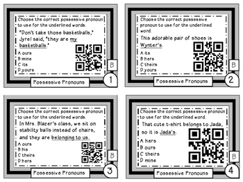 Possessive Pronouns Differentiated Task Cards with QR Codes Grade 6