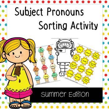Subject Pronouns ESL Sorting Activity - Summer Edition