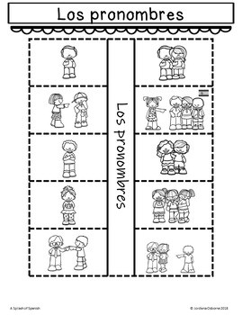 Subject Pronouns Interactive Notebook in Spanish