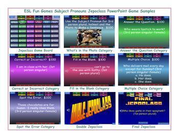 Subject Pronouns Jeopardy PowerPoint Game Slideshow