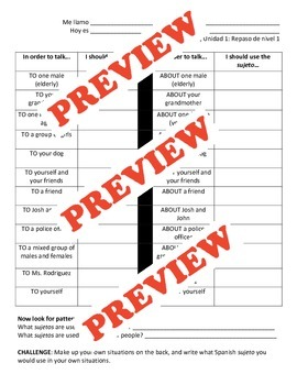 Subject Pronouns Lesson and Activity