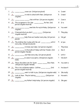 Subject Pronouns Matching Exam