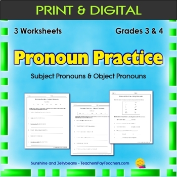 Subject Pronouns & Object Pronouns - 3 Worksheets - Grades 3 & 4 - CCS