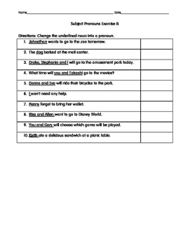 Subject Pronouns Poster and Worksheets