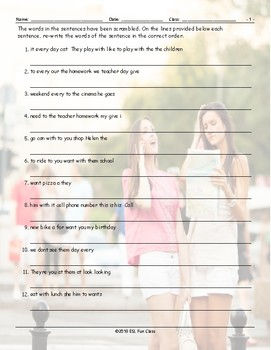 Subject Pronouns Scrambled Sentences Worksheet