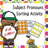 Subject Pronouns ESL Sorting Activity - Fall Edition