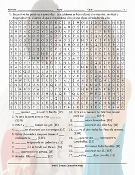 Subject Pronouns Spanish Word Search Worksheet