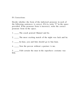 Subject Pronouns Test