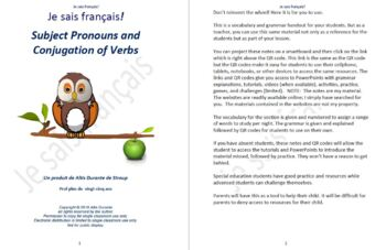 Subject Pronouns and Conjugation of Verbs