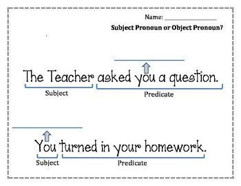 Subject Pronouns and Object Pronouns Worksheet