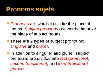 Subject Pronouns in French powerpoint