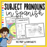 Subject Pronouns in Spanish Worksheets Pronombres Personales