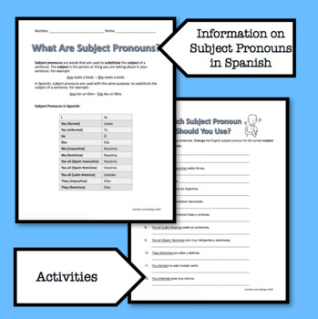 Subject Pronouns in Spanish and The Verb SER / Worksheets / Printable