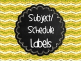 FREE Chalkboard Subject Schedule Labels