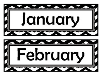 Month Signs - Black & White Chevron