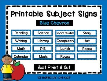 Subject Signs - Blue Chevron