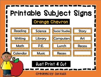 Subject Signs - Orange Chevron