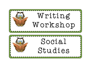 Subject Signs~ Owl Themed