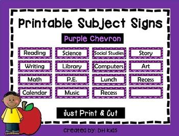 Subject Signs - Purple Chevron