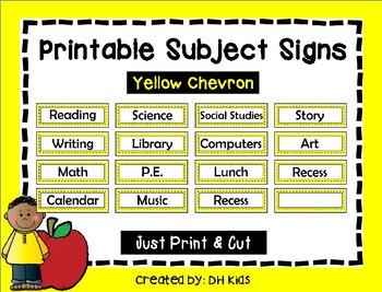 Subject Signs - Yellow Chevron