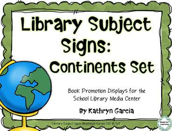 Library Poster Signs for Continents Displays