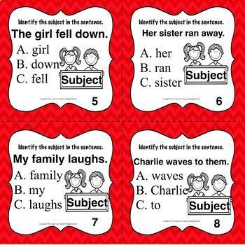 Subject Task Cards (Parts of speech)