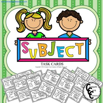 Subject Task Cards
