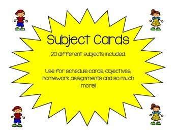 Subject Toppers/Cards