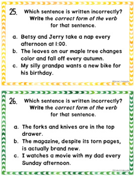 Subject Verb Agreement Anchor Charts and Task Cards