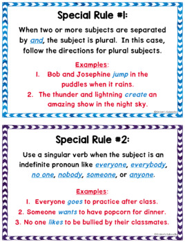 Subject Verb Agreement Task Cards and Anchor Charts