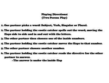 Subject Verb Agreement Activity 3rd, 4th, 5th Grade Grammar Games