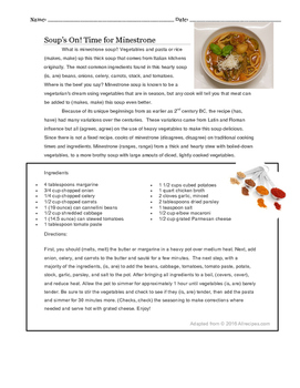 Subject Verb Agreement Activity in Context of Cooking Soup (Grades 5 - 9)