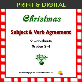 Subject-Verb Agreement - Christmas-themed - 2 worksheets - Grades 3-4 - Holidays