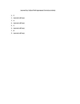 Subject Verb Agreement Correction Activity