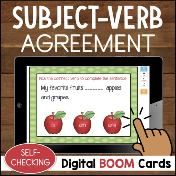 Subject Verb Agreement DIGITAL Task Cards BOOM CARDS