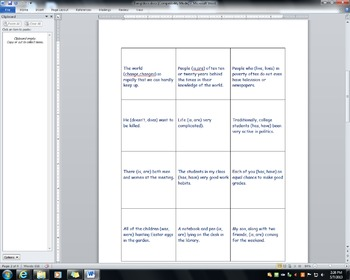 Subject / Verb Agreement Game