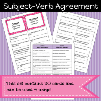 Subject-Verb Agreement Game/Sort Pack