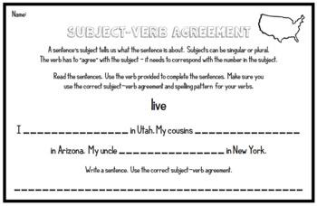 Subject-Verb Agreement - Grammar Assessments for 3rd Grade