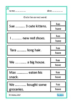 Subject Verb Agreement Grammar Autism Special Education Speech ESL