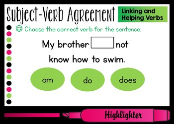 Subject-Verb Agreement Helping and Linking Verbs Boom Cards