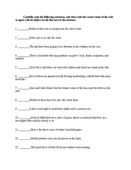 Subject-Verb Agreement - Informative Handout and Exercises - CCSS Aligned