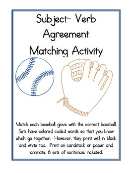 Subject-Verb Agreement Matching Activity