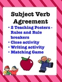 Subject Verb Agreement:  Matching game, cloze and writing activity