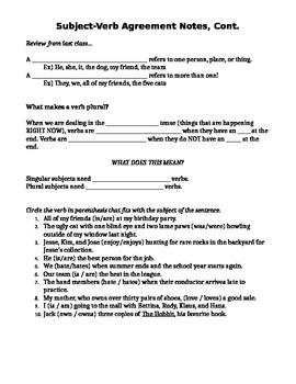 Subject-Verb Agreement Notes & Practice