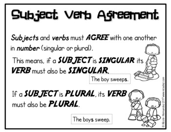 Subject Verb Agreement Posters for Kindergarten to Grade One Classrooms